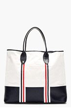 THOM BROWNE White & Navy Canvas & Leather Tote for men