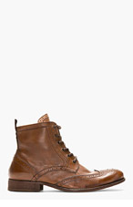 H BY HUDSON Brown Leather Brogued Angus Ankle Boots for men