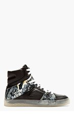 MCQ ALEXANDER MCQUEEN Leather & rubber Marbled high-top sneakers for men