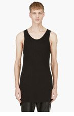 ANN DEMEULEMEESTER Black ribbed classic TANK TOP for men