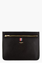 THOM BROWNE Black Pebbled Leather Document Pouch for men