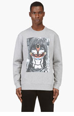 GIVENCHY Heather Gray Oversize Masai Graphic Sweater for men