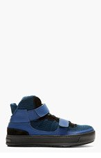 NEIL BARRETT Blue Knit Scoopback high-top Sneakers for men
