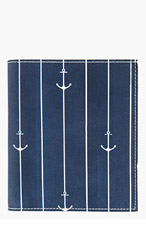 THOM BROWNE Navy Anchor Print Leather Bifold Wallet for men