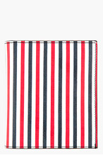 THOM BROWNE Red & White Stripe Leather Bifold Wallet for men