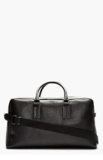 DOLCE & GABBANA Black Pebbled Leather Duffle Bag for men