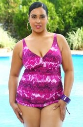 Women's Plus Size Swimwear - Always For Me Chic Prints - Batik Side Cinched One Piece