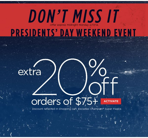Extra 20% Off with $75+ Ends Tomorrow