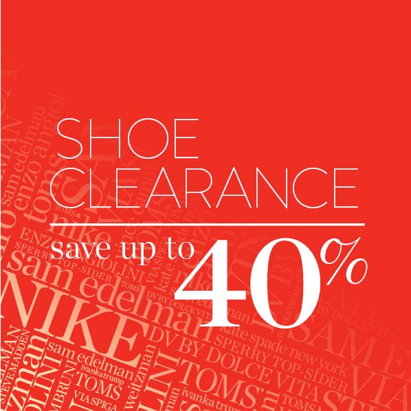 SHOE CLEARANCE - save up to 40%