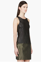MACKAGE SSENSE EXCLUSIVE Black Stretch Leather Sierra Tank Top for women