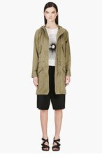 MARC BY MARC JACOBS Khaki Green Hooded Coat for women