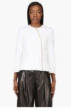 CALVIN KLEIN COLLECTION Ivory Neoprene Tafari Zip Jacket for women