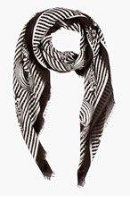 ALEXANDER MCQUEEN Black & White Striped Skull Scarf for women