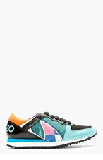 KENZO Teal Leather & Neoprene Abstract Sneakers for women