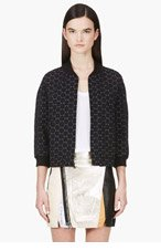 MARC BY MARC JACOBS Black Jacquard Leyna Dotty Ponte Zip Up Top for women