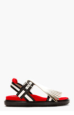 MARNI EDITION Silver & Red Fringed Sandals for women