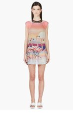 WE ARE HANDSOME Pink Silk Chiffon Flamingo The Bahamas Shift for women