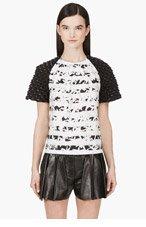 KENZO Mint & Black Neoprene-sleeved Palm Print Blouse for women