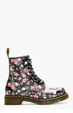 DR. MARTENS Black Floral Print 1460 8-Eye Ankle Boots for women