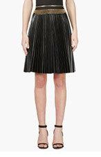DENIS GAGNON Black Leather Zip-trimmed Pleated Skirt for women