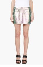 MARC BY MARC JACOBS Pink & Turquoise Iridescent Metallic Leather Mini Skirt for women