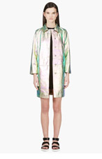 MARC BY MARC JACOBS Pink & Turquoise Iridescent Metallic Leather Coat for women