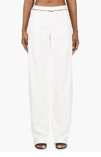 CALVIN KLEIN COLLECTION Ivory Twill Pillar Pants for women