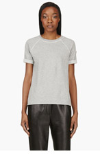 MONCLER Heather Grey Short Sleeve Sweatshirt for women