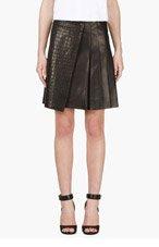 RAG & BONE Black Lambskin Croc-Embossed Edburg Skirt for women