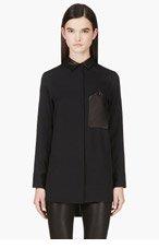 RAG & BONE Black leather-trimmed Cooper Shirt for women