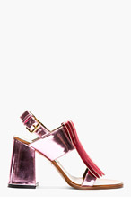 MARNI EDITION Pink Patent Leather Heeled Sandals for women