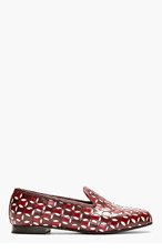 MARC JACOBS Burgundy Leather Offset Cut-Out Loafer for women