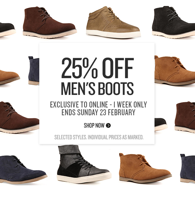 25% Off Men's Boots