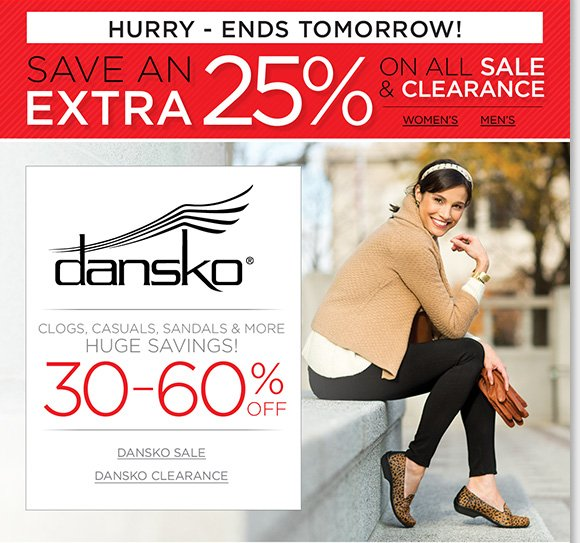 Find huge savings of up to 60% on Dansko clogs, sandals, casuals and more, ALL Sale & Clearance extra 25% off! Plus, find great savings on more great styles from UGG® Australia, Raffini, ABEO and more of your favorite brands! Shop now to find the best selection online and in stores at The Walking Company.