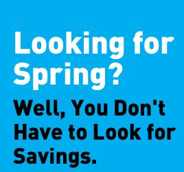 Looking for Spring? Well, You Don't Have to Look for Savings.