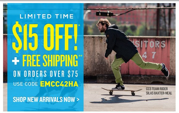 Limited Time: Take $15 Off* + Free Shipping on orders over $75!**