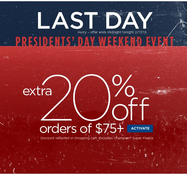 Extra 20% Off with $75+ Ends at Midnight