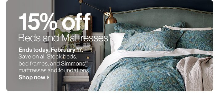 15% off Beds and Mattresses