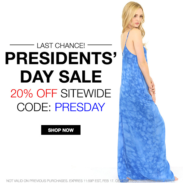 Save 20% sitewide during the Presidents' Day Sale at Boutique To You! Code: PRESDAY