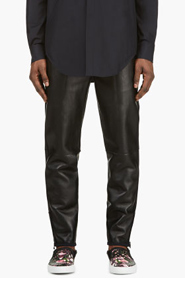 3.1 PHILLIP LIM Black LEATHER TRACK PANTS for men