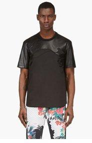 3.1 PHILLIP LIM Black Leather Wave T-Shirt for men