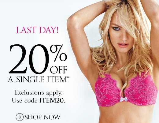 Last Day! 20% Off A Single Item