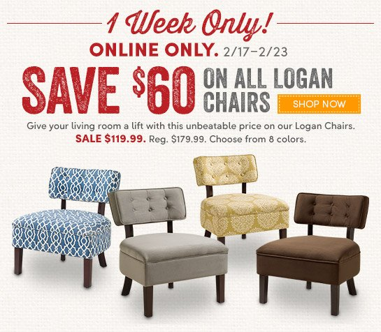 Online Only: Save $60 on All Logan Chairs