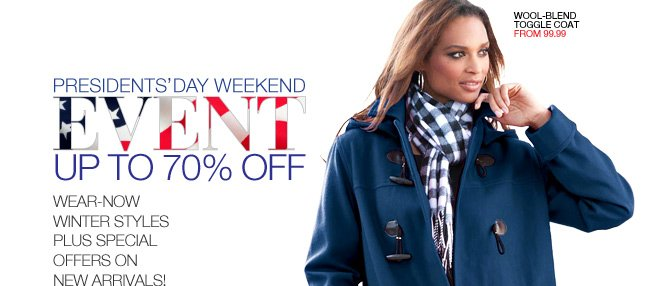 Presidents' Day Weekend Event, Up to 70% Off