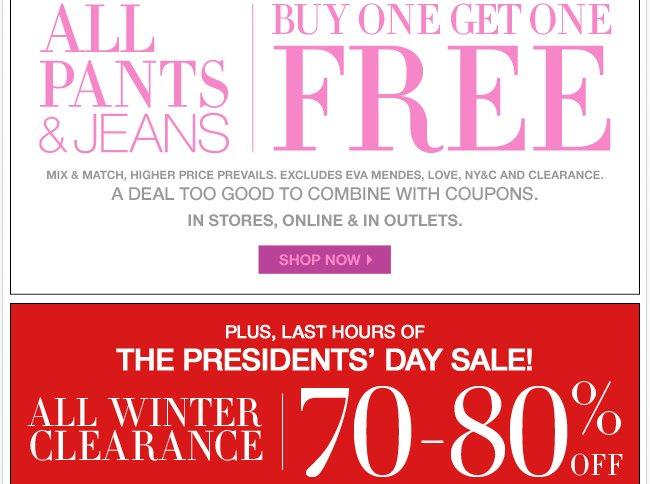 All Pants & Jeans B1G1 Free + 70-80% off during the Winter Clearance