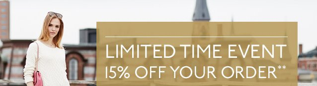 LIMITED TIME: 15% OFF YOUR ORDER**