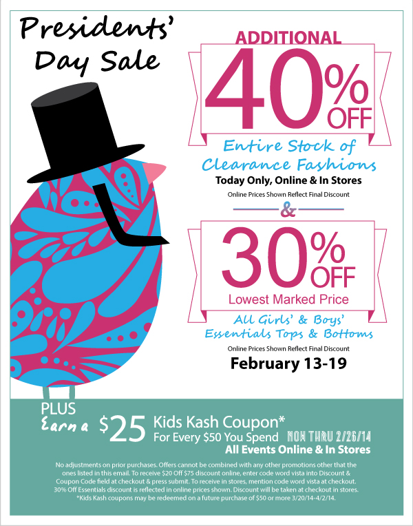 Additional 40% Off Clearance Presidents' Day Sale - Today Only + 30% Off All Essentials & Earn Kids Kash