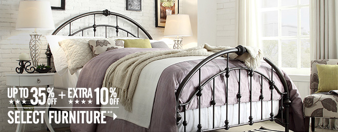 Up to 35% off + Extra 10% off Select Furniture**