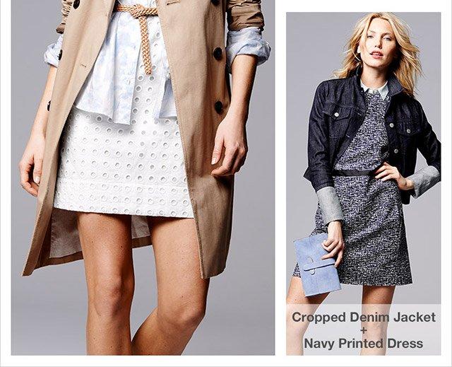 Cropped Denim Jacket + Navy Printed Dress
