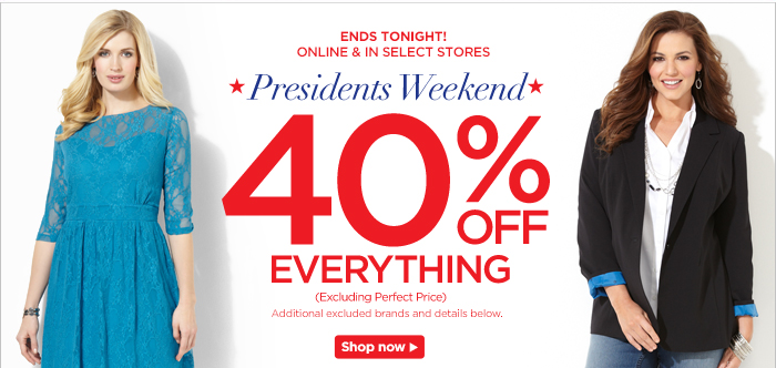 Presidents Weekend 40% off